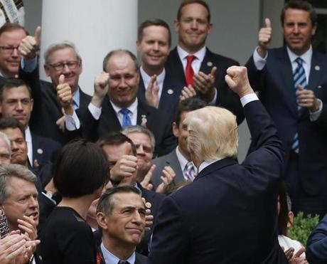 President Trump congratulated House Republicans in May.